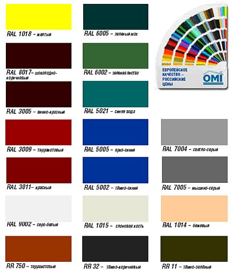 Цветовая гамма рулонных ворот