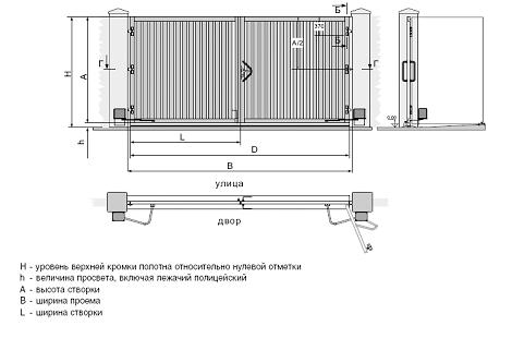 Низкие цена на распашные ворота в москве и области.  Схема распашные ворота установка по низкой...